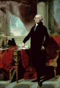 Politics Painting Posters - George Washington Poster by Gilbert Stuart
