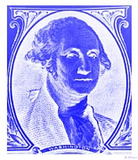 Patriots Posters - GEORGE WASHINGTON in BLUE NEGATIVE Poster by Rob Hans
