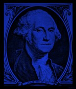 Patriots Digital Art Prints - GEORGE WASHINGTON in BLUE Print by Rob Hans
