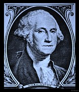 U S Founding Father Prints - GEORGE WASHINGTON in CYAN Print by Rob Hans