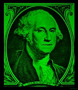 U S Founding Father Posters - GEORGE WASHINGTON in GREEN Poster by Rob Hans