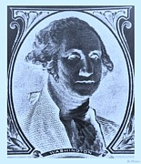 U S Founding Father Posters - GEORGE WASHINGTON in NEGATIVE CYAN Poster by Rob Hans