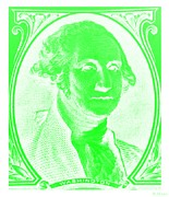 U S Founding Father Prints - GEORGE WASHINGTON in NEGATIVE GREEN Print by Rob Hans