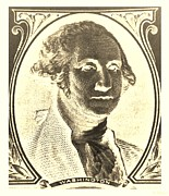 U S Founding Father Posters - GEORGE WASHINGTON in NEGATIVE SEPIA Poster by Rob Hans