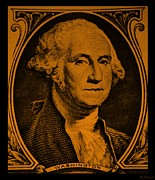 U S Founding Father Prints - GEORGE WASHINGTON in ORANGE Print by Rob Hans