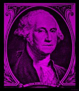 U S Founding Father Prints - GEORGE WASHINGTON in PURPLE Print by Rob Hans