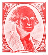 Patriots Posters - GEORGE WASHINGTON in RED NEGATIVE Poster by Rob Hans