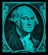 U S Founding Father Prints - GEORGE WASHINGTON in TURQUOIS Print by Rob Hans