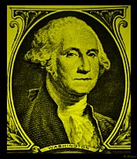 U S Founding Father Prints - GEORGE WASHINGTON in YELLOW Print by Rob Hans