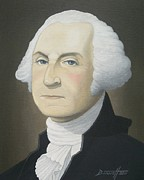 The President Of The United States Paintings - George Washington  by Mark Barnett