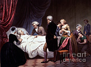 Colonial Man Posters - George Washington On His Death Bed Poster by Photo Researchers