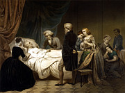 Us Presidents Mixed Media Prints - George Washington On His Deathbed Print by War Is Hell Store