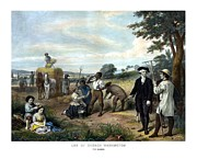Us Presidents Framed Prints - George Washington The Farmer Framed Print by War Is Hell Store