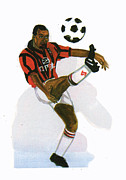 George Weah In Action Print by Emmanuel Baliyanga