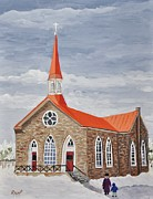 Winter Scenes Rural Scenes Painting Prints - Georgetown Presbyterian Church Print by Reb Frost