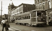 Trolley Framed Prints - Georgetown Trolley E Market St Wilkes Barre PA by City Hall mid 1900s Framed Print by Arthur Miller