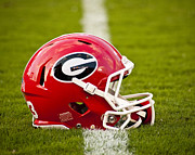 Team Prints - Georgia Bulldogs Football Helmet Print by Replay Photos
