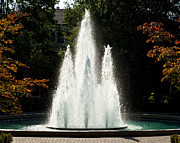Fall Photos Posters - Georgia Herty Field Fountain on UGA North Campus Poster by Replay Photos