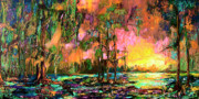 Wetland Paintings - Georgia landscape Okefenokee Sunset  by Ginette Fine Art LLC Ginette Callaway