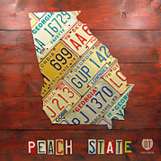Transportation Mixed Media Framed Prints - Georgia License Plate Map Framed Print by Design Turnpike