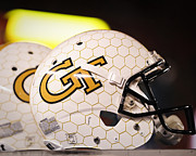 Yellow Prints - Georgia Tech Football Helmet Print by Replay Photos