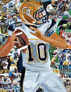 Sec Mixed Media Framed Prints - Georgia Tech Quarterback Framed Print by Michael Lee