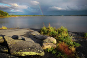 Country Cottage Photos - Georgian Bay Rainbow by Charline Xia