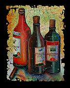 Grape Vineyard Mixed Media Posters - Georgian wine fresco Poster by OLena Art
