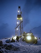 Snowy Night Night Prints - Geothermal Power Station Drilling Print by Ria Novosti