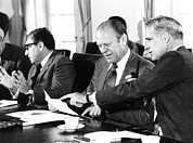 Kissinger Prints - Gerald Ford At A Cabinet Meeting Print by Everett
