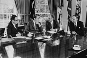 Kissinger Prints - Gerald Ford Meeting With President Print by Everett