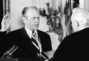 East Room Framed Prints - Gerald Ford Takes The Oath Of Office Framed Print by Everett