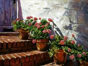French Impressionism Paintings - Geranium Steps by David Lloyd Glover
