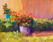 Adobe Building Pastels Posters - Geraniums and Adobe Poster by Candy Mayer