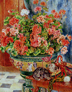 Red Flower Paintings - Geraniums and Cats by Pierre Auguste Renoir