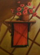 Red Geraniums Mixed Media Prints - Geraniums and Red towel Print by Tom Forgione