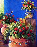 Mexican Pastels Posters - Geraniums and Talavera Poster by Candy Mayer