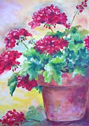 Red Geraniums Painting Posters - Geraniums Poster by Carolyn Bell