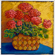 Red Geraniums Pastels Posters - Geraniums in a basket Poster by Pat Olson
