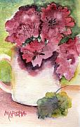 Red Geraniums Painting Posters - Geraniums in a Cup Poster by Marsha Woods