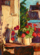Geraniums Pastels - Geraniums in Burgundy by Judy Adamson