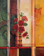 Red Geraniums Painting Posters - Geraniums in Churn Poster by Joselyn Holcombe