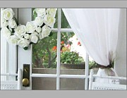 French Doors Framed Prints - Geraniums in the Window Framed Print by Gretchen Wrede
