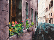 Cobble Stones Originals - Geraniums in Vienna by Carol McLagan