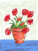Red Geraniums Digital Art Posters - Geraniums Poster by Marita McVeigh