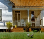 Chickens Paintings - Geraniums on a Country Porch by Doug Strickland