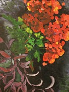 Red Geraniums Painting Posters - Geraniums Plus Poster by Barbara Sutton
