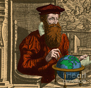 Cartographer Framed Prints - Gerardus Mercator, Flemish Cartographer Framed Print by Photo Researchers, Inc.