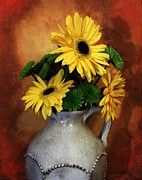 Pottery Pitcher Metal Prints - Gerber Yellow Daisies Metal Print by Marsha Heiken