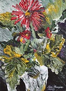 Gerbera Daisy Paintings - Gerbera Celebration of Color by Terri Thompson